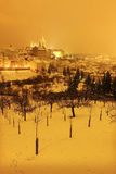 Night colorful snowy Prague City with gothic Castle, Czech republic Royalty Free Stock Photography