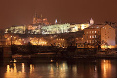 Night colorful snowy Prague gothic Castle, Czech Republic Stock Photography