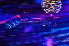 Disco lights synth wave vapor neon funfair fairground ride, Night colors of the amusement park lo-fi stock photo