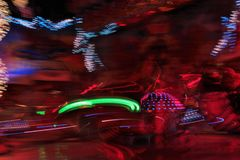 Disco lights synth wave vapor neon funfair fairground ride, Night colors of the amusement park lo-fi stock images