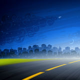 Night comes. — empty road and a big city under late evening sky Royalty Free Stock Photo