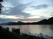 The night comes. Just before the end of a day in Luang Prabang, Laos Royalty Free Stock Image