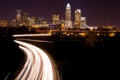 Night  Commute. Car traveling from Downtown Charlotte, North Carolina. Heading Home Stock Image