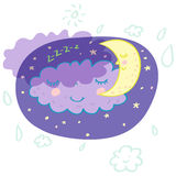 Night concept. Cartoon cloud and moon are sleeping in the sky Royalty Free Stock Image