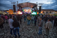 Night concert in Villa de Leyva at the fiesta. July 19, 2017 Villa de Leyva, Colombia: outdoor concerts entertaining the tourists during the annual fiesta of the stock photos
