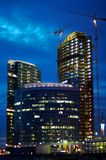 Night construction. Construction of Moscow business center, evening photo Royalty Free Stock Photo