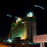 Night construction. The big tower night construction in bangkok thailand royalty free stock image