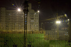 Night  construction site. Starry light in night construction site of house building Stock Image