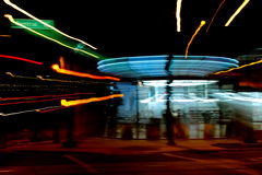Night at convenience store. A night view of blurred activity in a parking lot outside of a convenience store in Phoenix Arizona royalty free stock photos