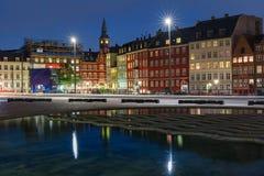 Night Copenhagen, Denmark stock photography