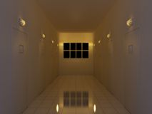 Night Corridor. 3d illustration of a corridor at night Royalty Free Stock Photos