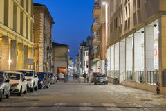 Night Corso d`Augusto Street in Rimini, Italy. It is one of the main hubs of city life in the historic center of Rimini Royalty Free Stock Photo