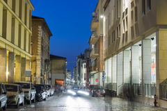 Night Corso d`Augusto Street in Rimini, Italy. It is one of the main hubs of city life in the historic center of Rimini Royalty Free Stock Photos