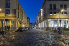 Night Corso d`Augusto Street in Rimini, Italy. Night Corso d`Augusto Street. It is one of the main hubs of city life in the historic center of Rimini Stock Photos