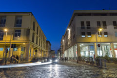 Night Corso d`Augusto Street in Rimini, Italy. Night Corso d`Augusto Street. It is one of the main hubs of city life in the historic center of Rimini Stock Photography