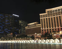A night Cosmopolitan, Bellagio and Fountains Stock Photography