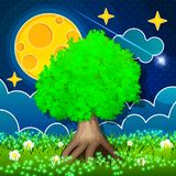 Night Countryside Landscape. Big tree with moon and fireflies Royalty Free Stock Photography