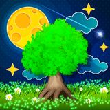 Night Countryside Landscape. Big tree with moon and fireflies Stock Image