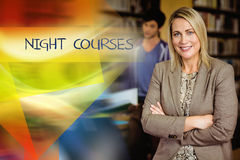 Night courses against professor looking at camera with arms folded. The word night courses against professor looking at camera with arms folded Stock Image