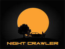 Night Crawler. A girl sitting on the car at nigh with a big moon Stock Photography
