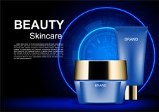 Night cream with futuristic circle on dark background, vector co. Smetic ads template Royalty Free Stock Images