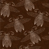 Night creatures seamless pattern with moths and fireflies. Stock Photography