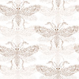 Night creatures seamless pattern with moths. Royalty Free Stock Photography