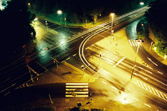 Night crossing. Of urban roads long exposure Royalty Free Stock Image