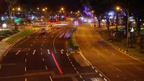 Night Crossroad. Panoramic time-lapse of night crossroad in the big city stock footage