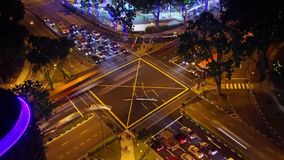 Night Crossroad. Panoramic time-lapse of night crossroad in the big city stock video