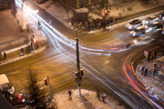 Night crossroad in winter Stock Photo