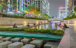 Night Crowded People At Cheonggyecheon Stream In Seoul City Of S Royalty Free Stock Image