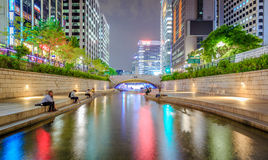 Night Crowded People At Cheonggyecheon Stream In Seoul City Of S Royalty Free Stock Photos
