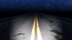 Night curved road with starry sky loop. Night curved road under starry sky - loop stock footage