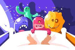 Night cute monsters bother sleeping in bed Royalty Free Stock Photos