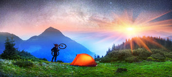 Night cyclist Royalty Free Stock Photos