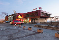 Night dance club on the promenade of Pomorie in Bulgaria Royalty Free Stock Photography