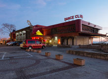 Night dance club on the promenade of Pomorie in Bulgaria, winter 2017 Royalty Free Stock Photos