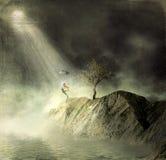 Night.Dance in de regen. Royalty-vrije Stock Afbeeldingen