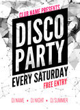 Night Dance disco Party design template in polygonal style. Club dance party event. DJ music poster promotional Royalty Free Stock Photo