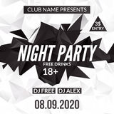 Night Dance Party design template in polygonal style. Club dance party event. DJ music poster promotional.  Stock Photo