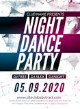 Night Dance Party design template in polygonal style. Club dance party event. DJ music poster promotional.  Royalty Free Stock Image