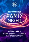 Night dance party music night poster template. Electro style concert disco club party event flyer invitation.  stock illustration