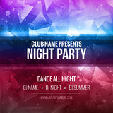 Night Dance Party Poster Background Template. Festival Vector mockup. Royalty Free Stock Photography