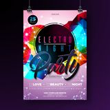 Night dance party poster design with abstract modern geometric shapes on shiny background. Electro style disco club. Template for abstract music event flyer vector illustration