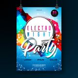 Night dance party poster design with abstract modern geometric shapes on shiny background. Electro style disco club Royalty Free Stock Photography