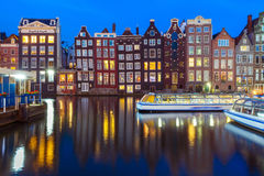 Night dancing houses at Amsterdam, Netherlands. Stock Image