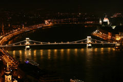 Night Danube in Budapest. Chain bridge royalty free stock photography