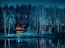 Night dark forest in fall season, halloween. Night dark forest and old house in fall season on a holiday halloween royalty free stock image