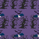 Night dark trees seamless pattern. Dancing and smiling fantasy trees with full moon and flying bats. Halloween seamless pattern vector illustration
